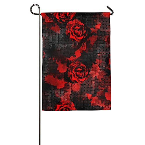 inch Seamless Pattern With Dark Roses Floral And Snakeskin Background With Watercolor Effect Textile Family Garden House Home Demonstration Decorative Flag (Davis Snake)