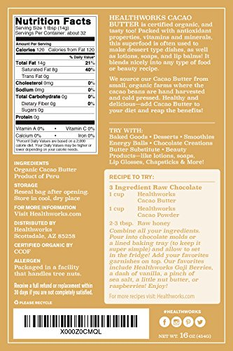 Healthworks Cacao Butter Raw Organic, 2lb (2 1lb Packs) by Healthworks (Image #4)