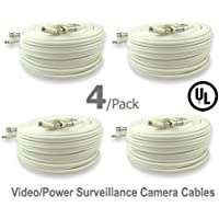 4 Pack UL Listed 150 ft Feet Professional Grade RG59 siamese combo cable for TVI, CVI, AHD and HD-SDI camera system with BNC connectors and 2.1mm power jack for plug and play connections