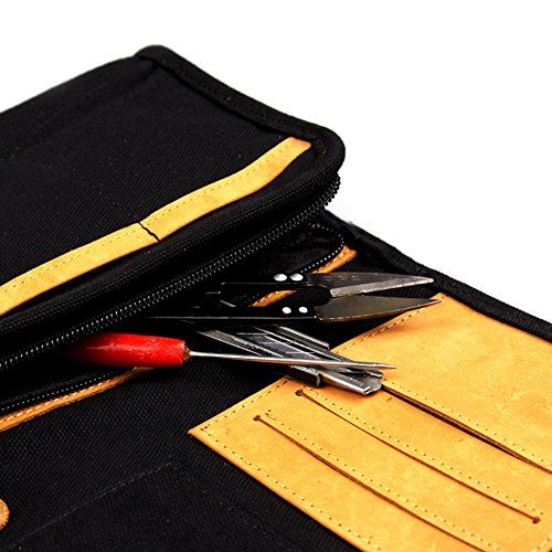 Leather Canvas Multifunction Carry Electronics Organizor Oxford Handbag Case USB Flash Drive Case Bag Wallet SD Memory Cards Cable Organizer Travel Gadget Case of Accessories for Men and Women(Black)