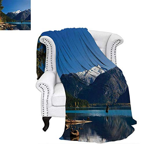 (Lightweight Blanket Mountain Countryside Winter Time Lake Mountain Forest View Photo Digital Printing Blanket 50