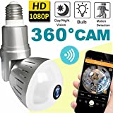 2018 Upgrade Bulb WiFi IP Camera Wireless Fisheye Spy Hidden Cameras 360 Panoramic Panoramic Home Security System Baby Nanny Pet Indoor with Night Vision Motion Detection Alarm-Smartphone Father Day