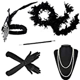 1920s Accessories Headband Earrings Necklace Gloves Cigarette Holder Flapper Costume Accessories Set for Women (Style A)