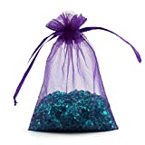 """ECVILLA 100pcs 4 x 6"""" Organza Bags, Gift Bags Organza Drawstring Pouch Jewelry Party Wedding Favor Party Festival Gift Bags Candy Bags (Purple)"""