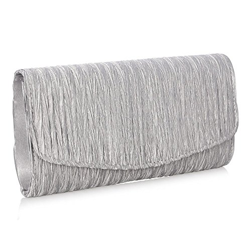 Gaeruite Evening Envelope Clutch Bag for Women Girl, Pleated?Satin?Clutch Tote Bag Party Bride Crossbody Bag Purse Silver