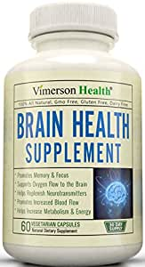 Brain Function Booster. Memory, Mind & Focus Enhancer - Promotes Concentration, Cognition & Mental Performance. Best Nootropic Supplement with Ginkgo Biloba + DMAE + Vitamins & More