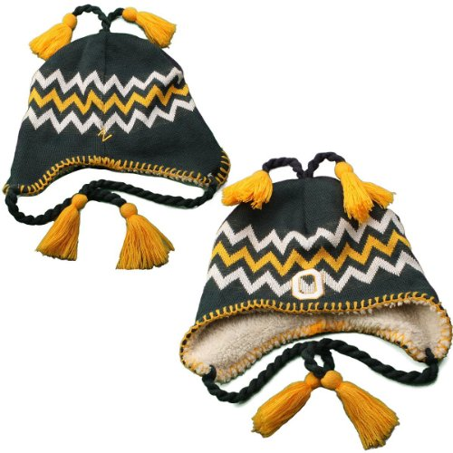 Oregon Ducks Green Downhill Beanie Hat with Tassel - NCAA Youth Cuffless Peruvian Ski Knit Toque Hat
