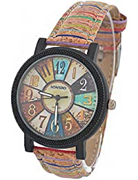 Souarts Womens Artificial Leather Vintage Pattern Analog Quartz Wrist Watch Coffee 24.5cm
