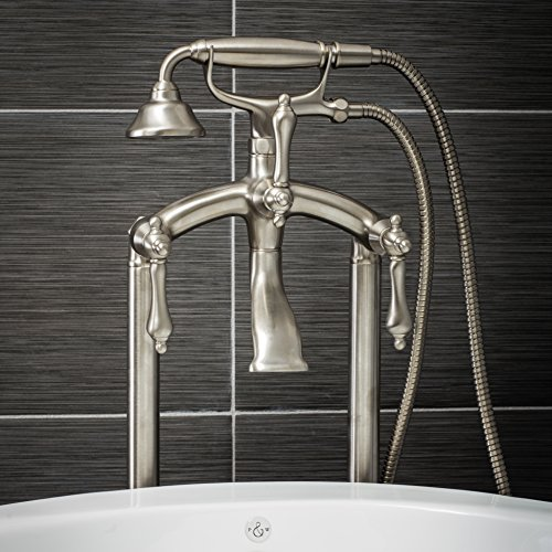 (Luxury Clawfoot Tub or Freestanding Tub Filler Faucet, Vintage Design with Telephone Style Hand Shower, Floor Mount Installation, Lever Handles, Brushed Nickel Finish)