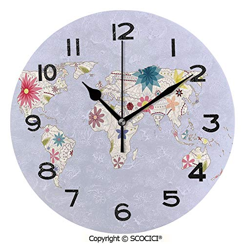 SCOCICI 10 inch Round Clock Retro Style Map with Pastel Toned Blossoms Kids Girls Atlas Illustration Decorative Unique Wall Clock-for Living Room, Bedroom or Kitchen Use