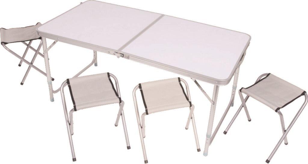 SAVINO FILIPPO SRL Set tavolo tavolino pieghevole bianco in alluminio con 4 sgabelli 120x60 cm per campeggio casa camper pic nic fiera richiudibile tutto in unica valigetta con manico per trasporto