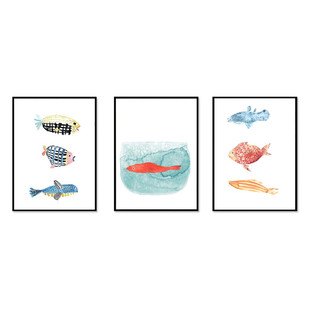 JaneMoXuan 壁掛けインテリア絵画 「色の魚 」アートフレーム インテリア 絵画 綿キャンバス生地 ポスター 釘付き 壁掛け フレーム付き モダン ウォールデコ 額入り 北欧風 部屋 装飾 (黒木枠40cmX30cm, タイプB1+2+3, 3枚) B07CGN45ZN 黒木枠40cmX30cm タイプB1+2+3, 3枚 タイプB1+2+3, 3枚 黒木枠40cmX30cm