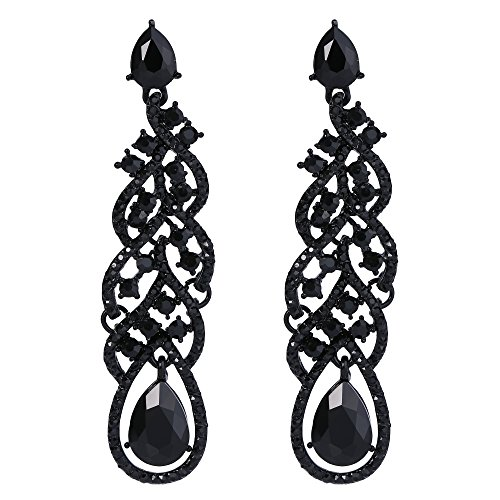 BriLove Wedding Bridal Dangle Earrings for Women Crystal Teardrop Hollow Floral Leaf Cluster Earrings Black Black-Silver-Tone