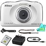 Nikon COOLPIX S33 Waterproof Digital Camera (White) + Prime Seller Microfiber Digital Camera Cleaning Cloth