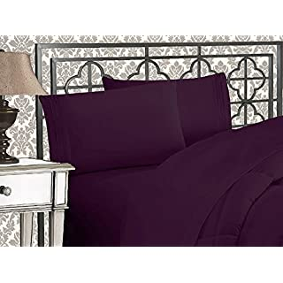 Elegant Comfort 1500 Thread Count Wrinkle & Fade Resistant Egyptian Quality Ultra Soft Luxurious 5-Piece Bed Sheet Set with Deep Pockets, Split King Purple
