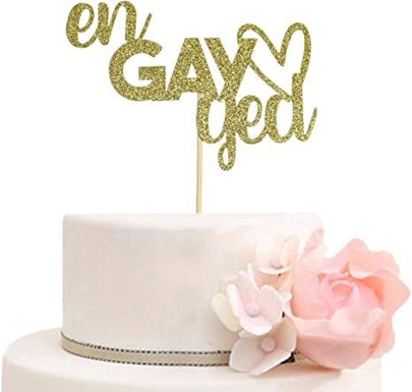 Amazon Com Engayged Cake Topper For Gay Lesbian Engagement Party Decorations Funny Engaged Cake Toppers Gold Glitter Toys Games