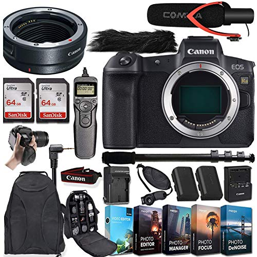 Canon EOS Ra Mirrorless Digital Camera (Body Only) and Canon Mount Adapter EF-EOS R + Deluxe Accessory Bundle incl. Comica Pro Mic, 5-Pack Photo/Video Editing Software, 2X 64GB Memory Card and More