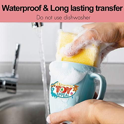 "Stampcolour Waterslide Decal Paper For Inkjet Printer,5 Sheets White Water Slide Transfer Paper,Printable Water Slide Decals 8.5""x11""for DIY Custom Tumbler, Mug, Glass Decals"