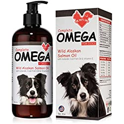 Fur Pet's Sake Pure Wild Alaskan Salmon Fish Oil for Dogs & Cats - All Natural Omega 3 Liquid Food Supplement for Pets - Supports Skin, Heart & Joint Health - Scientifically Proven New Formula - 16 oz