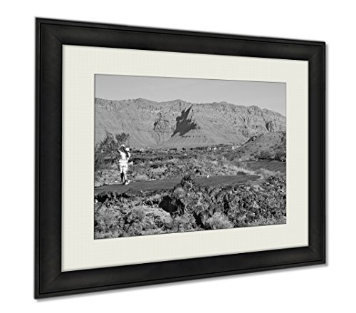 Ashley Framed Prints Desert Golf, Wall Art Home Decoration, Black/White, 34x40 (frame size), AG5415829 by Ashley Framed Prints