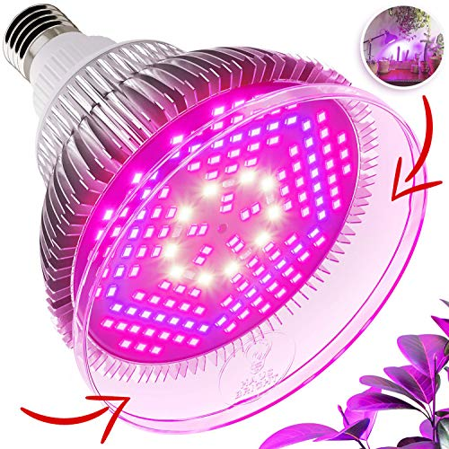 100W LED Grow Light Bulb - with Protective Lens | Full Spectrum Lamp for Indoor Plants, Garden, Flowers, Vegetables, Greenhouse & Hydroponic Growing | E27 Base with 150 LED
