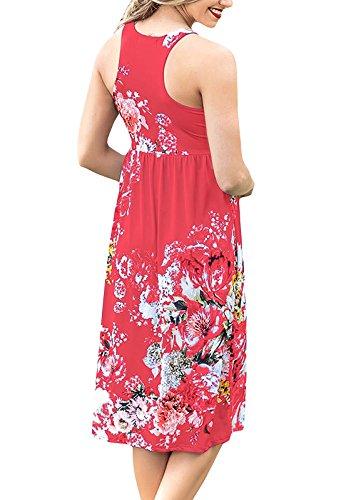 Rouge Quceyu Plage Chic de Robe Femme Robes Imprim Robe Manches t sans Mini qR7HRW