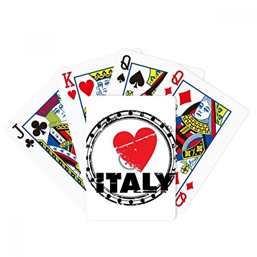 I Love Italy Word Love Heart Circle Poker Playing Cards Tabletop Game Gift by beatChong