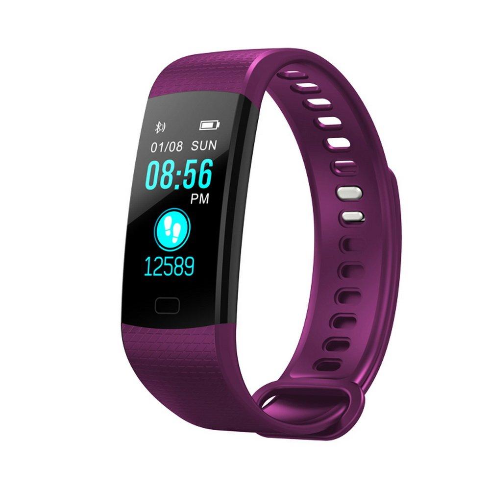 カラフルな画面スマートブレスレットリストバンドFitness Tracker with Heart Rate血圧モニター歩数計for iOS Android B07CVMB64H パープル