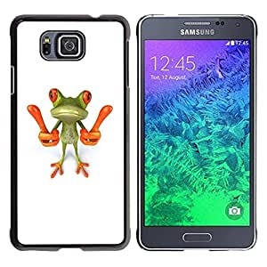 Be Good Phone Accessory // Dura Cáscara cubierta Protectora Caso Carcasa Funda de Protección para Samsung GALAXY ALPHA G850 // Smart Frog Funny Cartoon Minimalist White