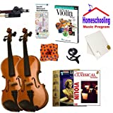 Homeschool Music - Learn the Violin Parent & Child Pack (Classical Book Bundle) - Includes Student 3/4 Violin & Full Size 4/4 Violin w/Case, DVD, Books & All Inclusive Learning Essentials