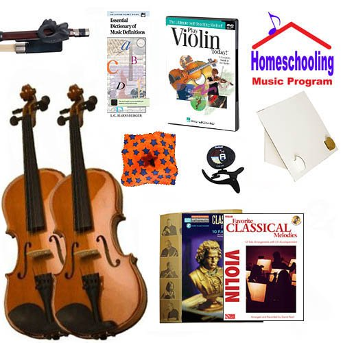 Homeschool Music - Learn the Violin Parent & Child Pack (Classical Book Bundle) - Includes Two Student 4/4 Violins w/Case, DVD, Books & All Inclusive Learning Essentials by Ryker Sound Discoveries