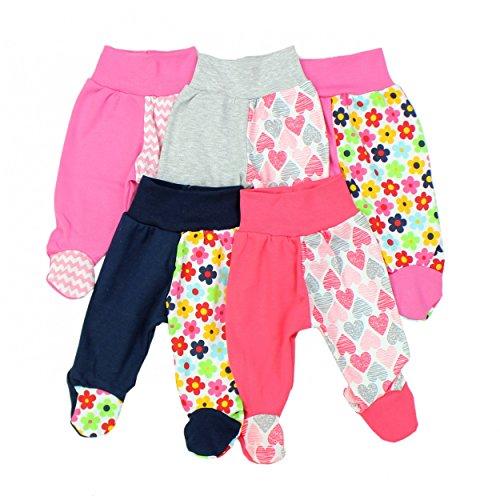 TupTam Baby Hose mit Fuß Jungen Strampelhose Babyhose Strampler Mädchen Stramplerhose im 5er Pack, Farbe: Mädchen, Größe: 68