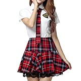 WenHong Japan School Uniform Dress Cosplay Costume Anime Girl Lady Lolita (Asia Medium, Red Plaid)