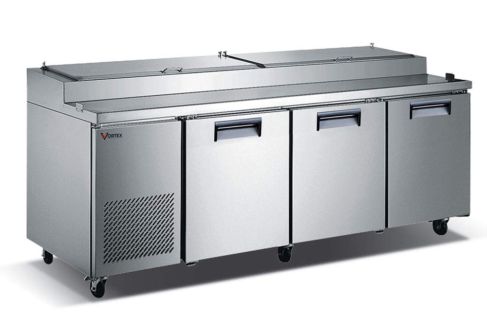 Vortex Refrigeration Commercial 3 Door Pizza Prep Table - 93'' - 26 Cu. Ft. by Vortex Refrigeration