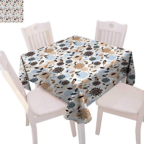 cobeDecor Earth Tones Dinning Tabletop DecorFlourishing Hydrangea Flowers in Abstract Style Skinny Stems with Leaves Table Cover for Kitchen 36