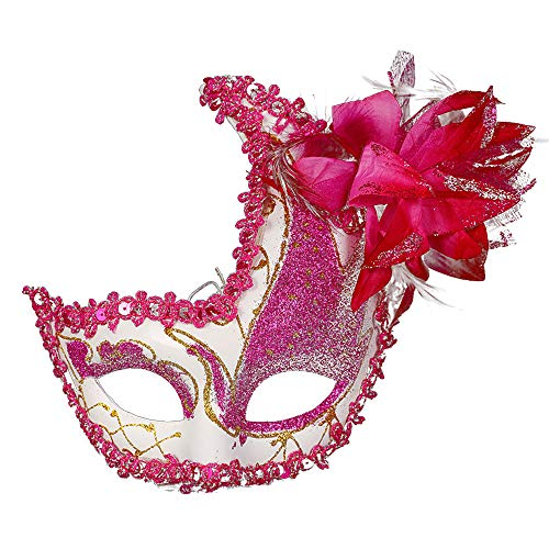 Masquerade Mask Cut Metal Masks Mardi Gras Halloween Masks for Women Makeup Party Halloween Cospay (Hot Pink) ()