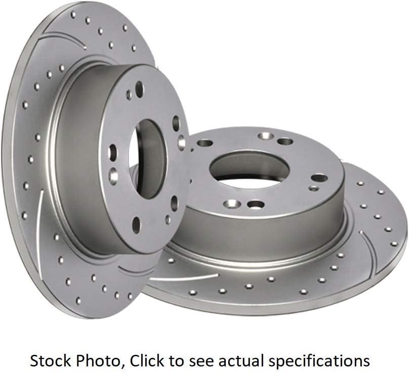 Fit 2003-2005 Honda Accord Rear Black Drill Slot Brake Rotors+Ceramic Brake Pads