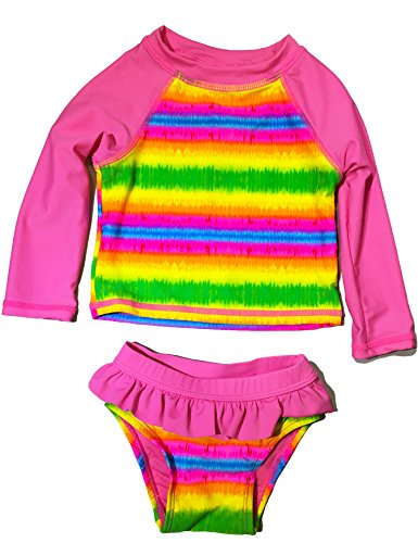 Baby & Toddler Girls Long Sleeve Rash Guard 2 Piece Set UPF 50+Swim Shirt (Pink Tie Dye, 12 Months) -