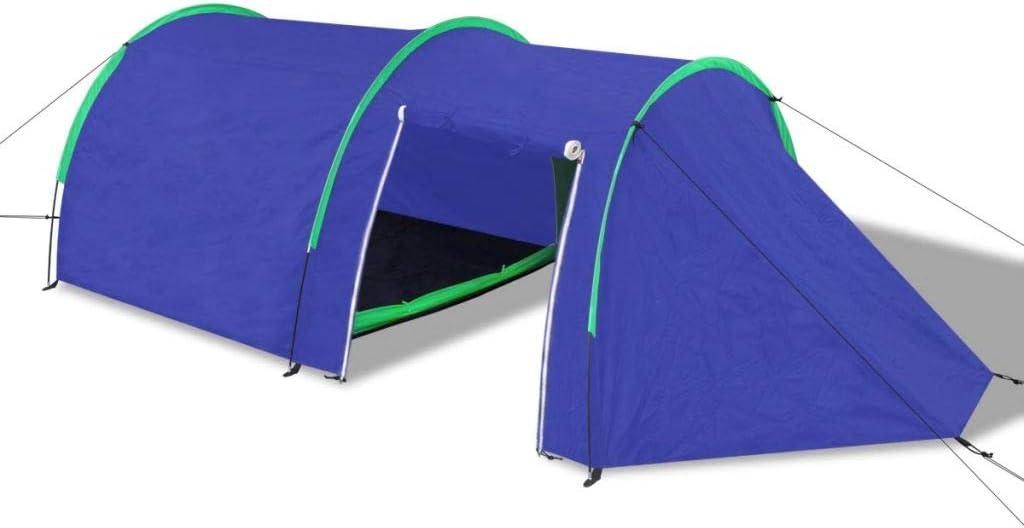 Tente de Familiale en Forme de D/ôme Imperm/éable et Anti UV 4 Personnes Bleu Marin//Bleu Clair Tidyard Tente de Camping