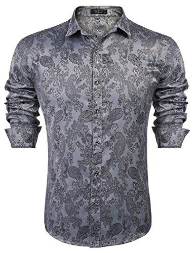 Silk Shirt Grey (Modfine Men's Long Sleeve Printed Silk Dress Shirt Dance Prom Party Button Down Fashion Shirts(Grey,XXL))