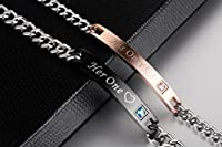 His Only Her One Stainless Steel His & Hers Couple Bracelet(2pcs)