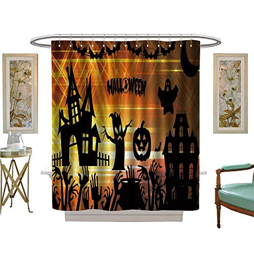 luvoluxhome Shower Curtain Customized Ultra high Definition Halloween Bathroom Decor Set with Hooks W36 x L72 -
