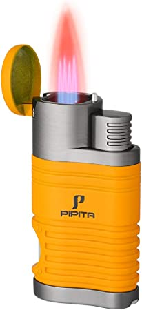 PIPITA Windproof Cigar Lighter Torch Quad 4 Jet Red Flame RefillableButane Gas Cigar Lighter with Punch Metal Cigarette Lighter (Yellow)