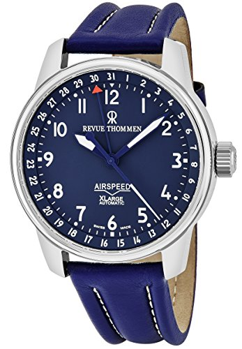 Revue Thommen Air Speed Mens Blue Face Date Swiss Automatic Blue Leather Strap Watch 16050.2535