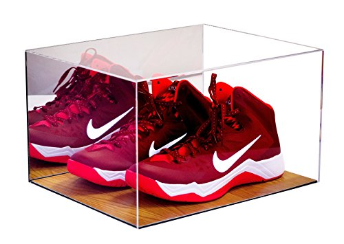 Deluxe Acrylic Basketball Shoe Display Case with Wood Floor and Mirror ()