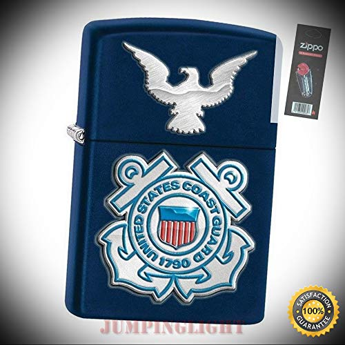 Coast Guard Nascar - 28681 United States Coast Guard Navy Matte Full Size Lighter with Flint Pack - Premium Lighter Fluid (Comes Unfilled) - Made in USA!