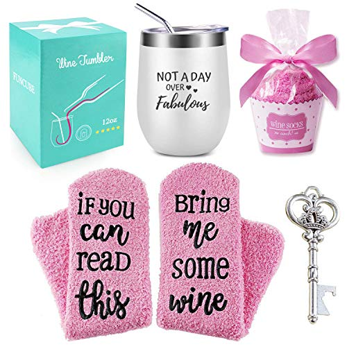 Wine Tumbler with Saying + Cupcake Wine Socks Gift Set | 12 oz Stainless Steel Double Insulated Stemless Wine Glass with Lid and Straw + Key Bottle Opener, Funny Gift for Women (White