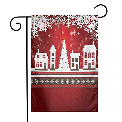 Holiday Flag Double Stitched Christmas Winter Holidays Theme Gingerbread House with Trees and Snowflakes Artwork Print 12.5 x 18 Inch Red White]()