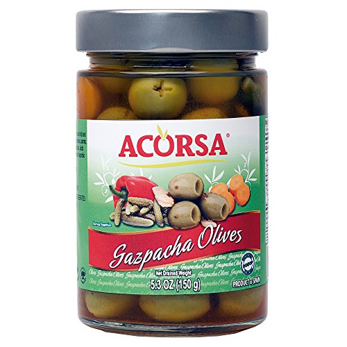 Pickled Pantry Pickles (Acorsa Gazpacha Green Olives from Spain with Pickled Veggies and Fruits - Olive Bar in a Jar Selection - 5.3oz)