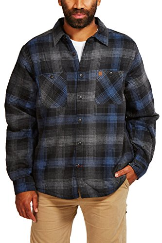Coleman Flannel Sherpa Shirt Jacket (Medium, Charcoal Navy)
